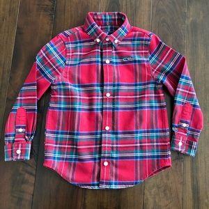 Vineyard Vines Red Plaid Flannel Whale Shirt 3T